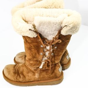 UGG Boots With Lace Up Side And Fur Top